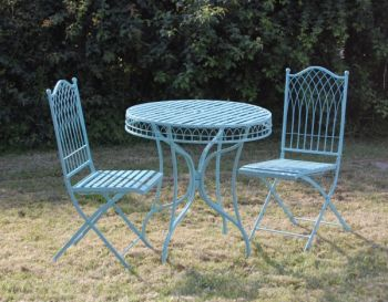 Folding Wrought Iron Hampton Bistro Table And Chairs Set
