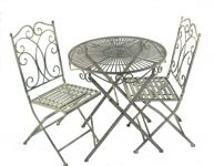 Folding Heritage BistroTable and Chairs Set in Antique Grey - 70cm Diameter
