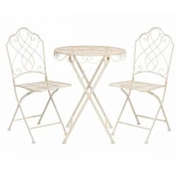 Avalon Bistro Table and Chairs Set in Cream - 60cm diameter
