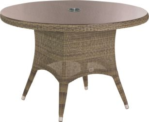 120cm Victoria Dining Table with Glass Top & Parasol Hole
