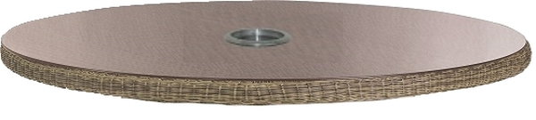 70cm Dia. Polyloom Taupe Woven Lazy Susan with Glass Top & Parasol Hole