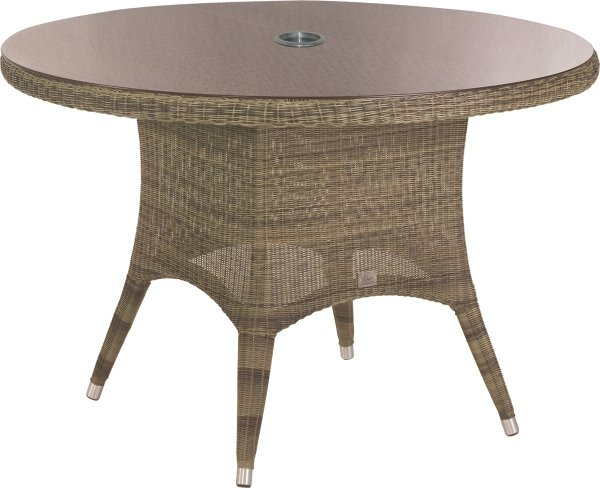 130cm Dia. Victoria Dining Table with Glass Top & Parasol Hole