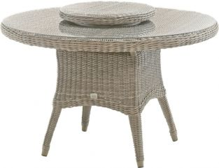 70cm Dia. Pure Wicker woven Lazy Susan with Glass Top & Parasol Hole