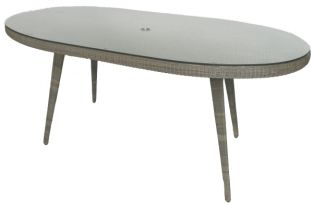 230x130cm Astoria Oval Dining Table with Glass Top & Parasol Hole