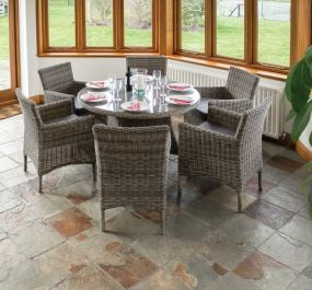 D1.2m (3ft 11in) Richmond Six Seater Rattan Dining set by Rowlinson®