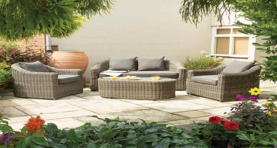 W1m (3ft 3in) Bunbury Four Seater Rattan Sofa Set by Rowlinson®