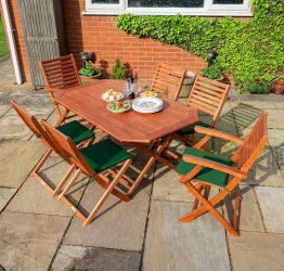 W1.4m (4ft 7in) Plumley 6 Seater Dining Set Hardwood FSC® by Rowlinson®