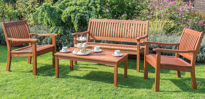 W1.24m (4ft 1in) Willington Four Seater Hardwood Coffee Set FSC® by Rowlinson®