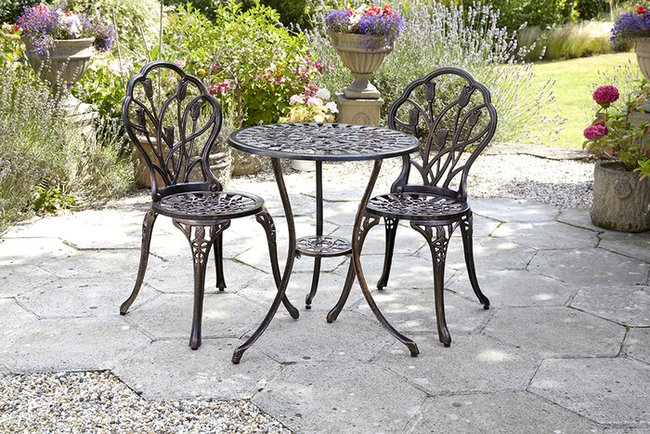 Bronze Aluminium/Cast Iron 2-Seater Bistro Set