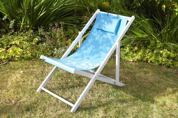 4 Position Adjustable Deck Chair in Blue Wildflower H95cm x W53cm