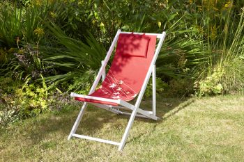 4 Position Adjustable Deck Chair in Red Butterfly H95cm x W53cm