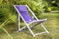 4 Position Adjustable Deck Chair in Purple Flower H95cm x W53cm