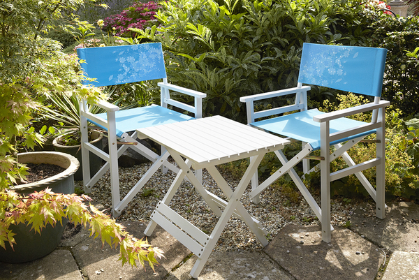 Directors 2-Seater Table & Chair Set in Blue Wildflower