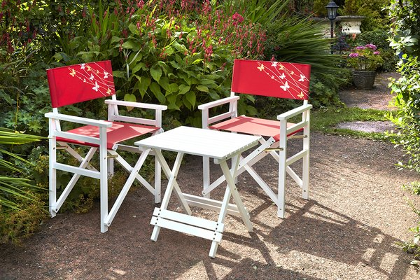 Directors 2-Seater Table & Chair Set in Red Butterfly