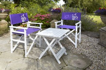 Directors 2-Seater Table & Chair Set in Purple Flower