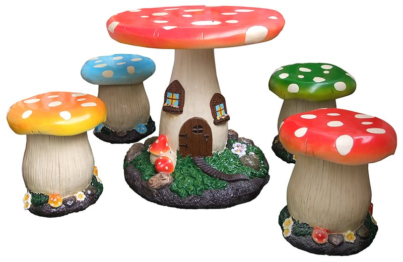 4-Seater Children's Mushroom Furniture Set