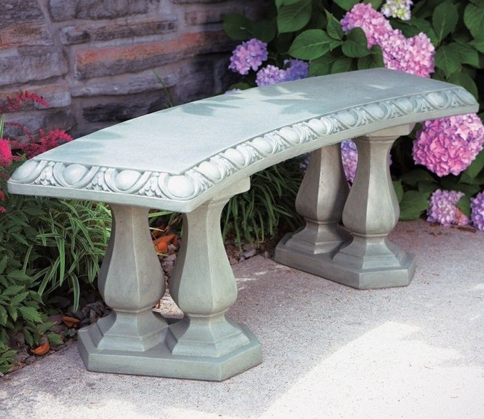 Cast Stone Curved Bench W4ft 2in X H1ft 6in 163 249 99