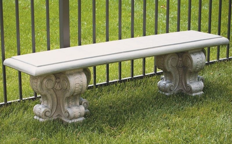 Large Cast Stone Bench with Verona Legs W5ft 4in x H1ft 6in