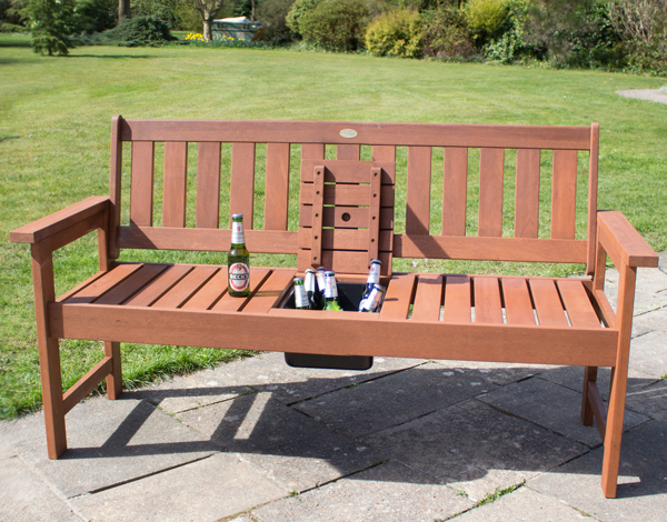 Southwold Hardwood 2 Seater Bench With Drinks Tray By Liz