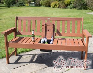 Southwold Hardwood 2 Seater Bench with Drinks Tray by Liz Frances™