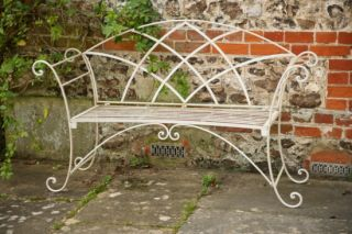 Riviera Style Wrought Iron Bench in White