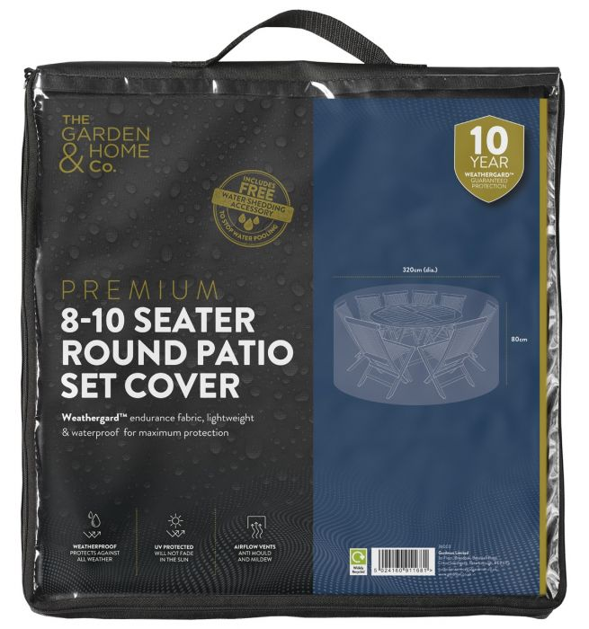 Gardman 80cm x 320cm 8-10 Seater Round Patio Set Cover - Black