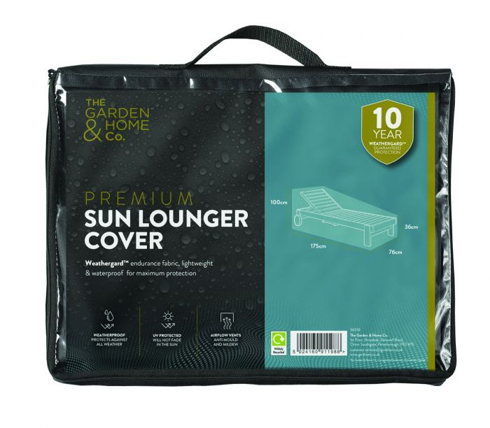 Gardman 76cm x 175cm Sun Lounger Furniture Cover - Black