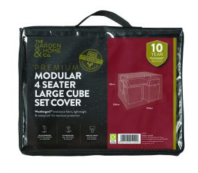 Gardman 124cm x 124cm Modular 4 Seater Cube Set Furniture Cover Large - Black