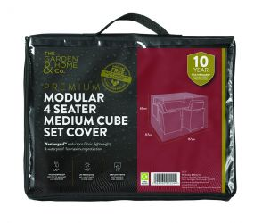 Gardman 117cm x 117cm Modular 4 Seater Cube Set Furniture Cover Medium - Black