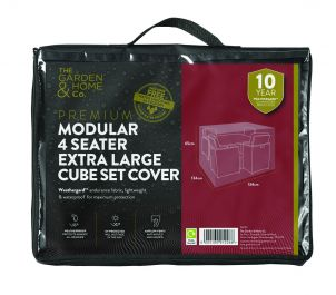 Gardman 134cm x 134cm Modular 4 Seater Cube Set Furniture Cover XL - Black