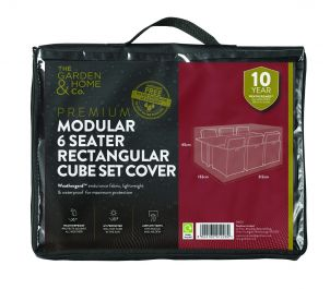 Gardman 212cm x 132cm Modular 6 Seater Rectangular Cube Set Furniture Cover - Black