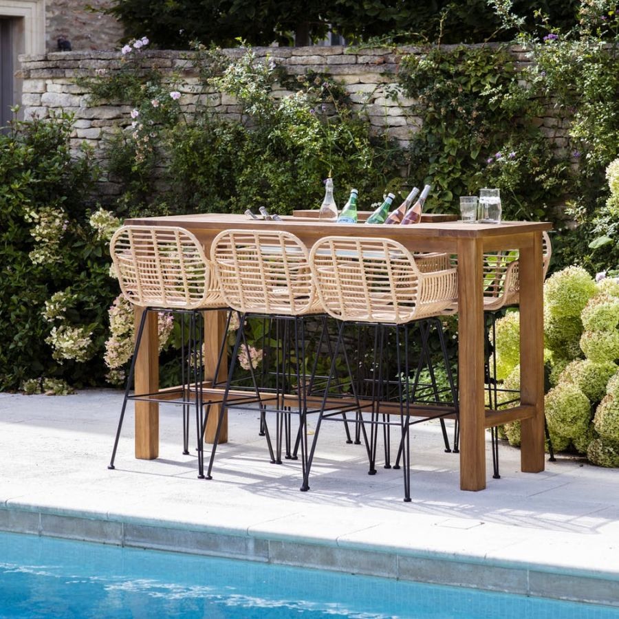 St Mawes Drinks/Planter Bar Table in Teak 180cm