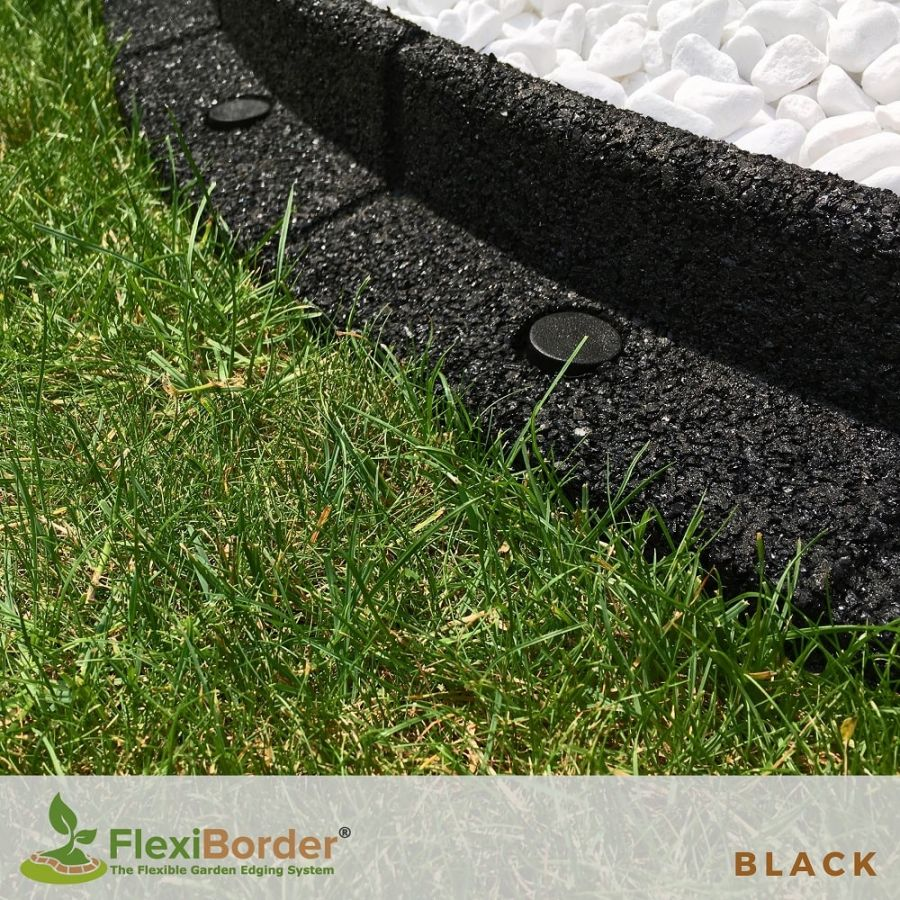 2m FlexiBorder Garden Edging (2x 1m packs) in Black - H8cm by EcoShape