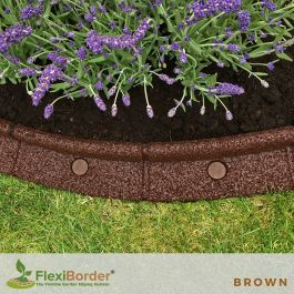 1m FlexiBorder Garden Edging in Brown - H8cm by EcoShape