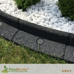 1m FlexiBorder Garden Edging in Grey - H8cm - by EcoShape