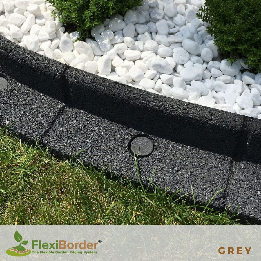 2m FlexiBorder Garden Edging (2x 1m packs) in Grey - H8cm by EcoShape