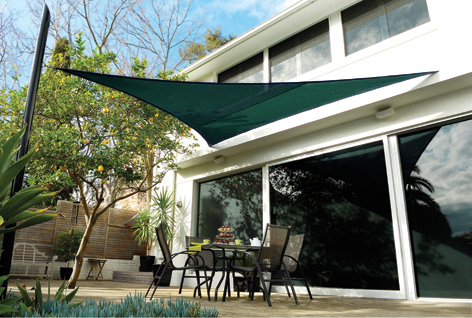Coolaroo Forest Green Sail Shade - Triangle 3.6m