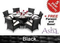 "6 Seater Rattan Weave Garden Dining Set (Black) - Asha™ ""Winslow"" With Parasol"