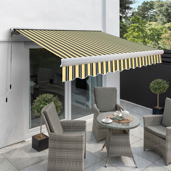5.0m Full Cassette Electric Awning, Yellow and Grey Stripe