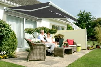 6m Full Cassette Electric Awning, Charcoal Polyester