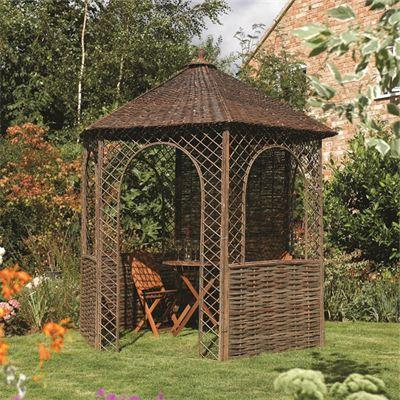 H2.65m (8ft 8in) Natural Willow Gazebo by Rowlinson®