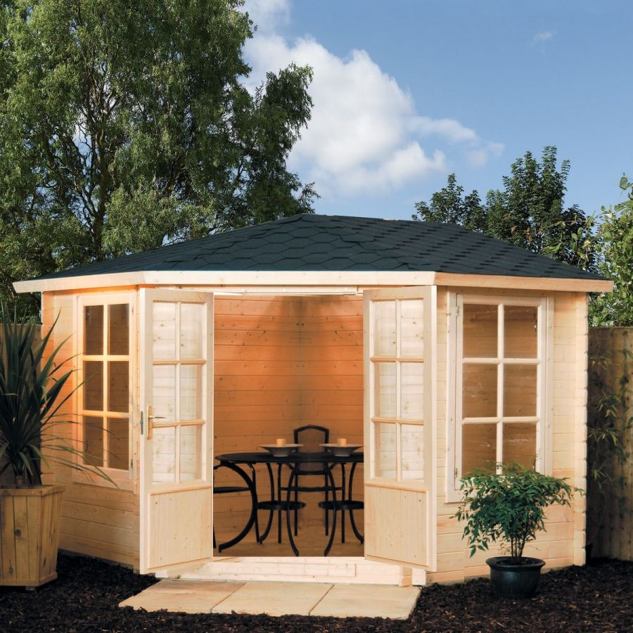 W3.25m (10ft 8in) Kestrel Corner Log Cabin FSC® by Rowlinson®