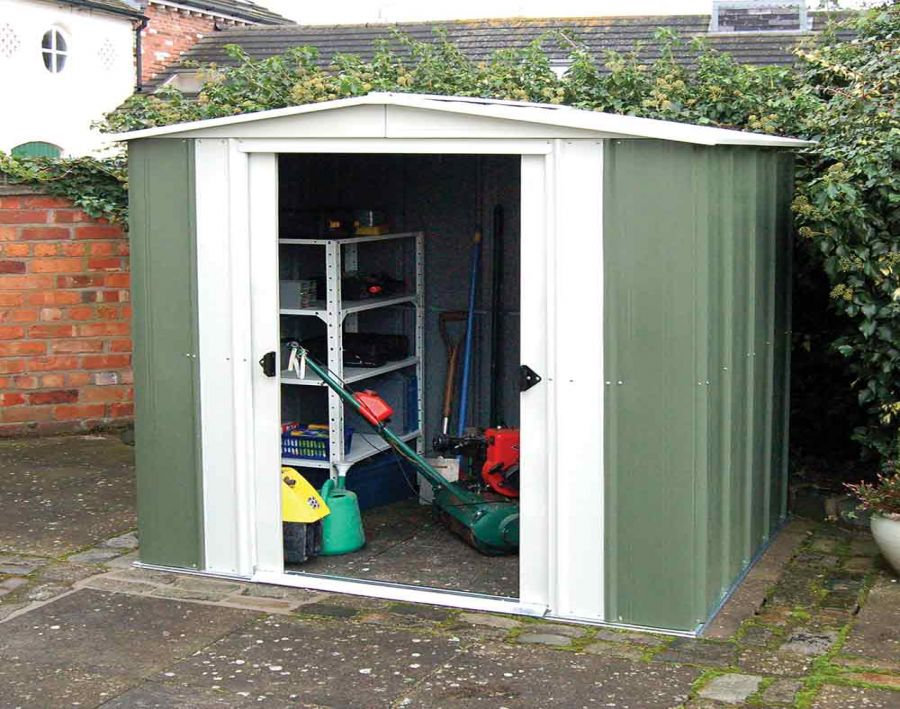 6ft x 5ft Double Door Apex Metal Shed by Rowlinson®