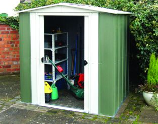8ft x 6ft Double Door Apex Metal Shed by Rowlinson®