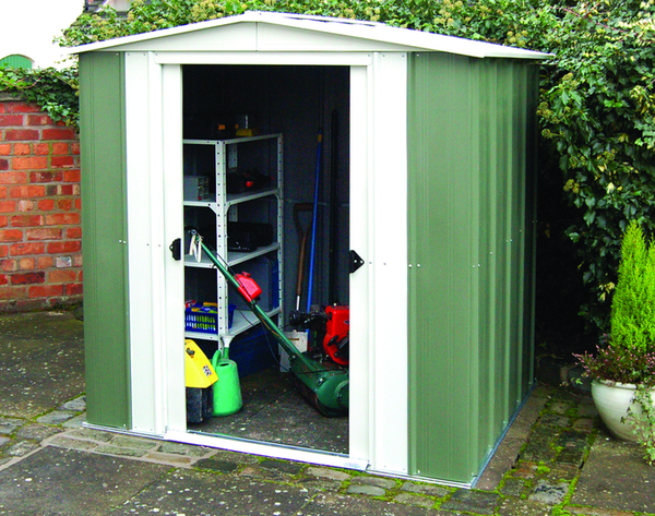 10ft x 8ft Double Door Apex Metal Shed by Rowlinson®