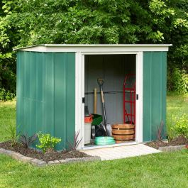 8ft x 4ft Double Door Pent Metal Shed by Rowlinson®