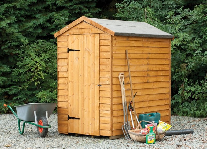Forest garden 6x4 security overlap apex shed assembled for Garden shed security