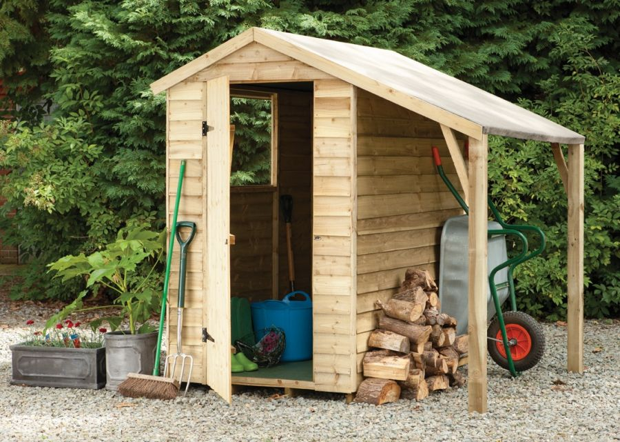 Forest Garden 6x4 Pressure Treated Overlap Apex Shed With Lean To