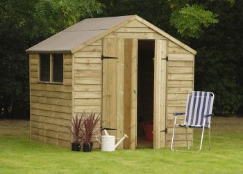 Forest Garden 7x7 Pressure Treated Overlap Shed Double Door