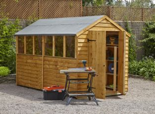 Forest Garden 10x6 Overlap Apex Shed Double Door - Assembled